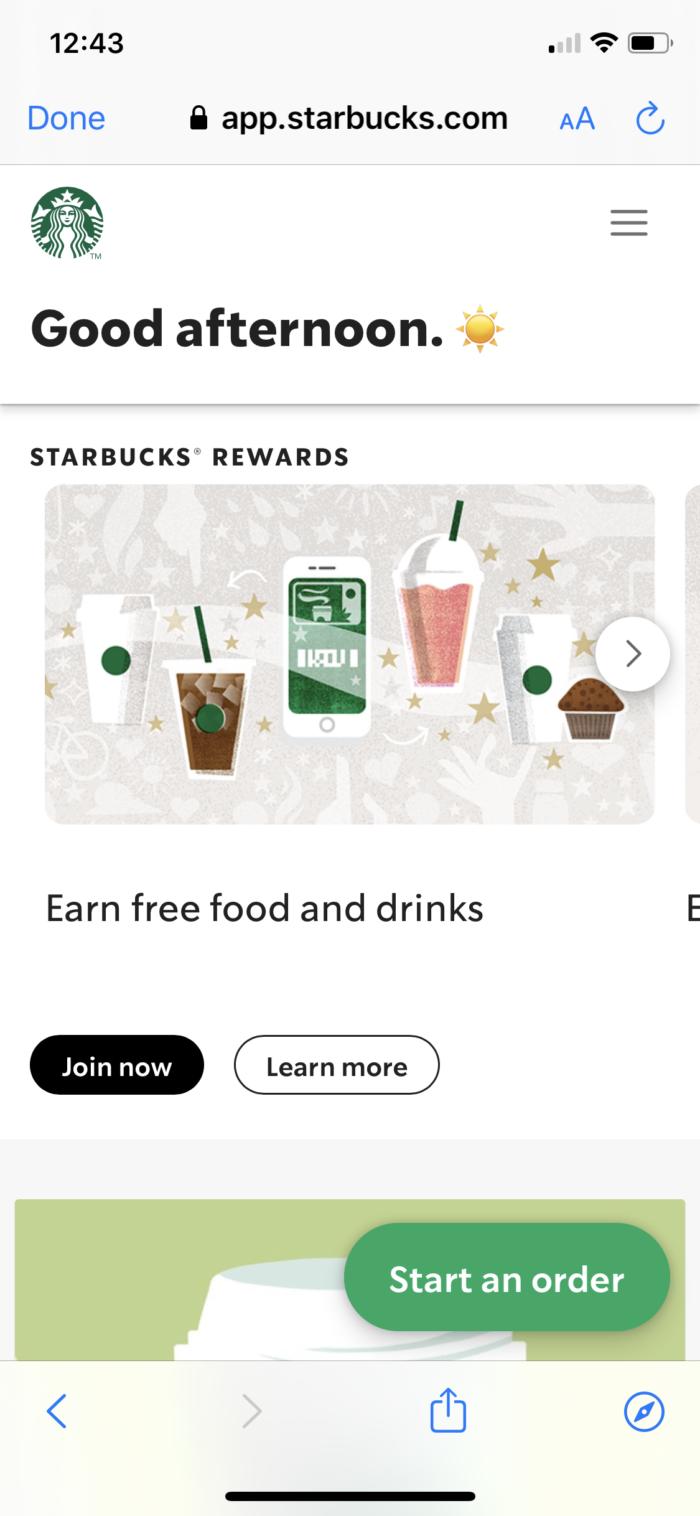 Starbucks mobile experience